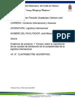 Evidencia de Producto 1 Ensayo Sobre La Importancia de Los Canales de Distribución en La Competitividad de La Logística Internacional Listo