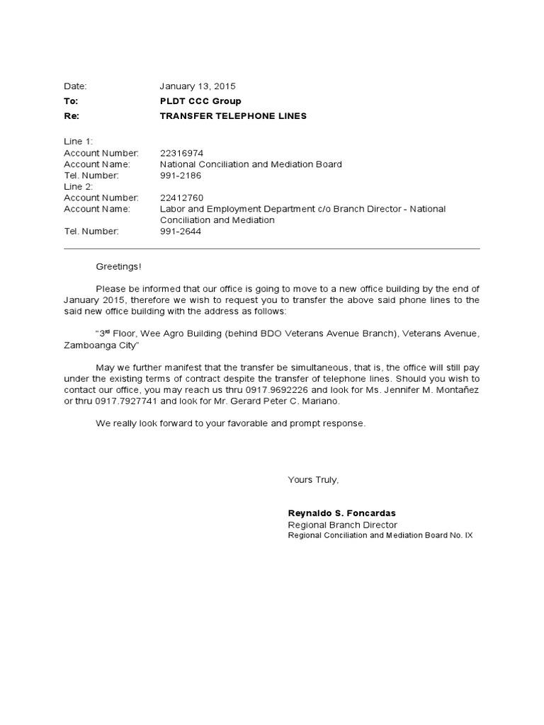Letter Of Request For Transfer Of Lines Pldt  Transfer Letter