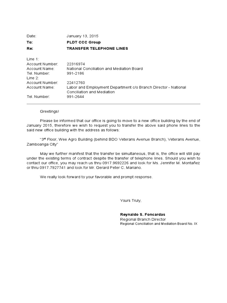 Letter of request for transfer of lines pldt m4hsunfo