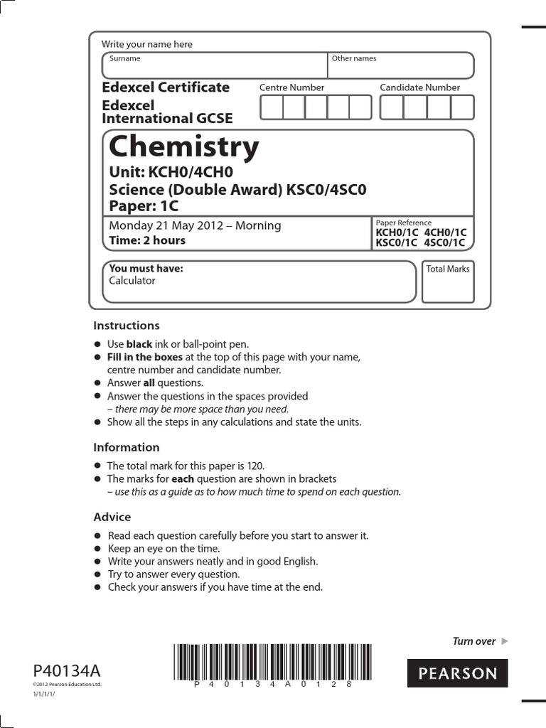 IGCSE Chemistry Past Paper 1C (New Syllabus)   Precipitation