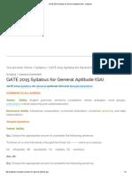 GATE 2015 Syllabus for General Aptitude (GA) - Engistan