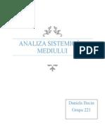 Analiza Sistemica a Mediului - Proiect
