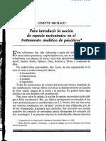 Para introducir la noción de espacio metonímico en.· el tratamiento analítico de psicóticos