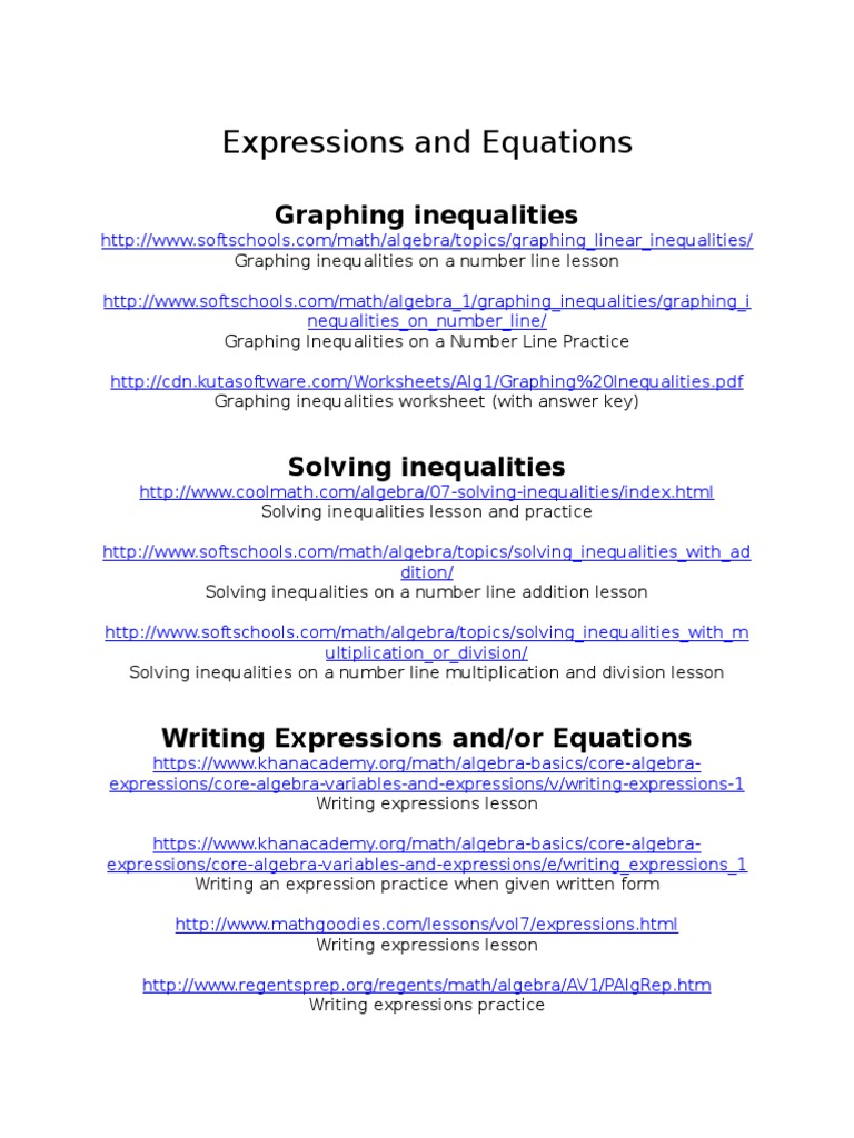 Expressions And Equations Websites Inequality Mathematics