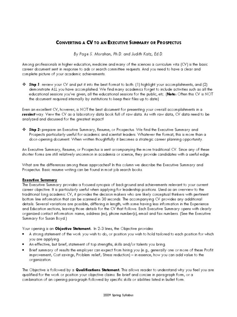Converting-a-CV-to-an-Executive-Summary.pdf | Résumé | Doctor Of ...