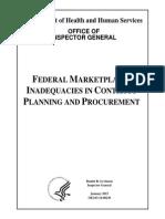 Federal Market Place Contract Procurement Report