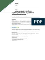 Kernos 105 1 Aux Origines de La Cite Etat Sophrosyne Sociale Et Politique Religieuse Nationale