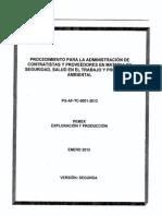 Procedimiento Para La Administración de Contratistas PG-AF-TC-0001-2013