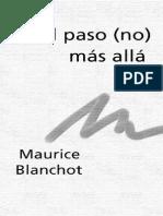 Blanchot - El Paso No Más Allá