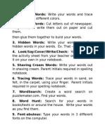 spelling activities list