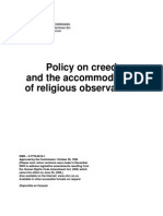 Policy on Creed and the Accommodation of Religious Observances