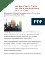 Noam Chomsky Slams West's Charlie Hebdo Outrage 'Many Journalists Were Killed by Israel in Gaza Too'