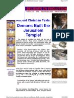 Ancient Christian Texts = Demons Built the Jerusalem Temple
