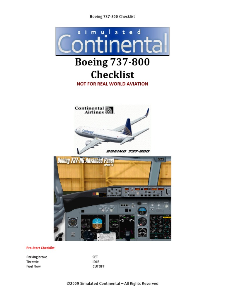 Boeing 737 800 Checklist Download X plane 11 Manual