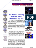 Are Humans Evolving Back Into Apes  = the Fossils Say Yes