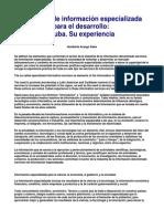 Servicios de Informacion Especializada Para El Desarrollo Cuba. Su Experiencia. - H.a.sales