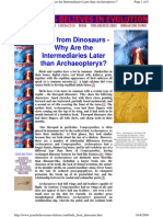 Birds From Dinosaurs - Why Are the Intermediaries Later Than Archaeopteryx