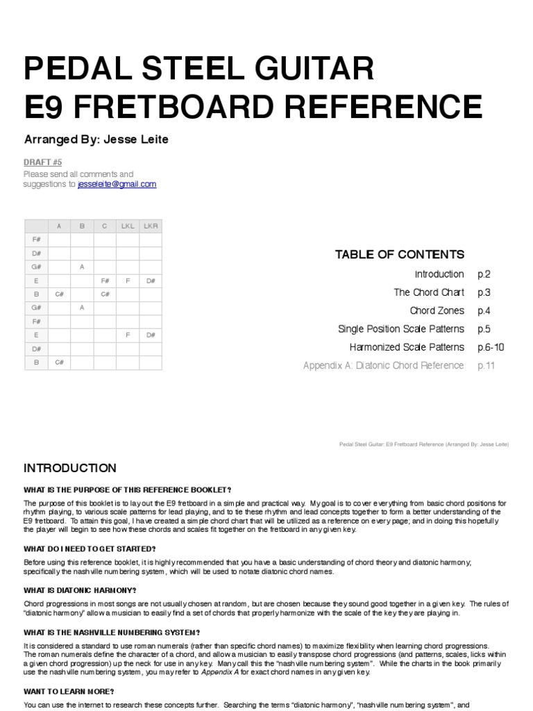 Pedal Steel Guitar E9 Fretboard Reference Draft5pdf Chord Music