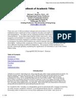 Handbook of Faculty Titles
