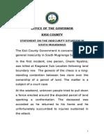 Statement-south Mugirango Insecurity