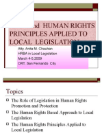 HRBA and Human Rights Principles Applied to Local Legislation