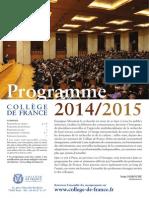Collège de France programme 2014-2015