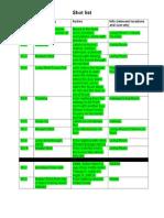 call sheet shot list