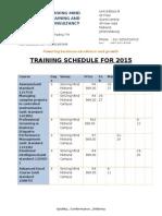 Training Calender for 2015