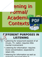 Listening in Formal Academic Contexts