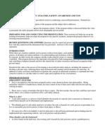 Job Safety Analysis Safety Awareness and You