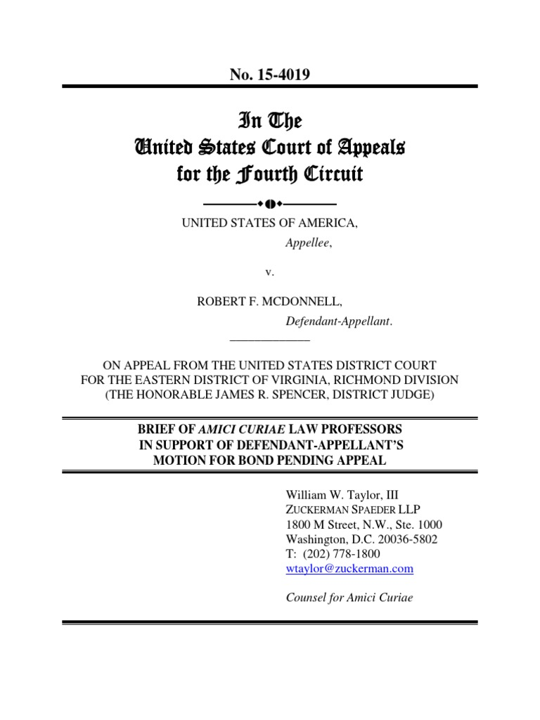 Mcdonnell Amicus Brief By Harvard Scholars Charles Ogletree Jr And No The Court Of Appeals Virginia Is A State Appellate For Fmr Federal Judge Nancy Gertner Mici Curiae Typefaces