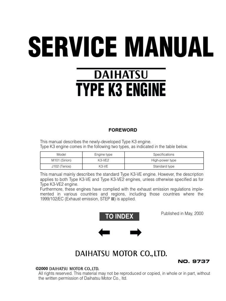 Daihatsu Engine Manual Pdf One Word Quickstart Guide Book Rocky 2006 Terios Service Rh Scribd Com Diesel Cuore