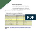 Tabla de Salarios Minimos en El Salvador del 2015