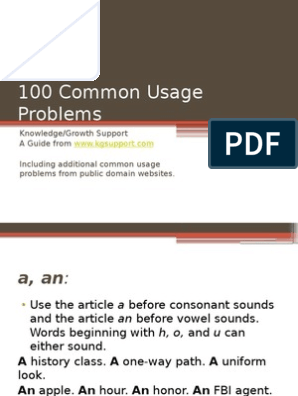 100 Common Usage Problems - Corrected | Verb | Adverb
