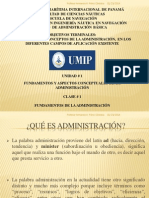CLASE N° 1 FUNDAMENTOS Y ASPECTOS CONCEPTULAES DE LA ADMINISTRACIÓN