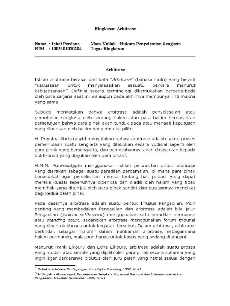 PENGANTAR HUKUM ARBITRASE DI INDONESIA