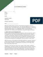 mold addendum and information sheet