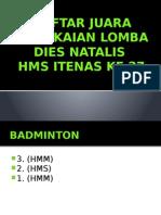 Daftar Juara Rangkaian Lomba Dies Natalis