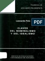 Claves Del Nominalismo y El Idealismo 1991