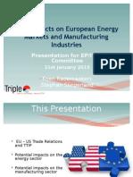 Impatti del TTIP sui mercati europei dell'energia e sulle industrie manifatturiere - presentazione