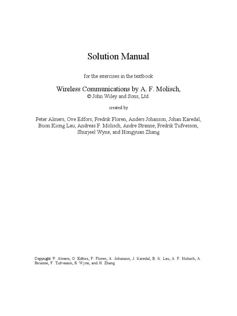 Solution manual- Wireless Communications Molisch | Signal To Noise Ratio |  Decibel