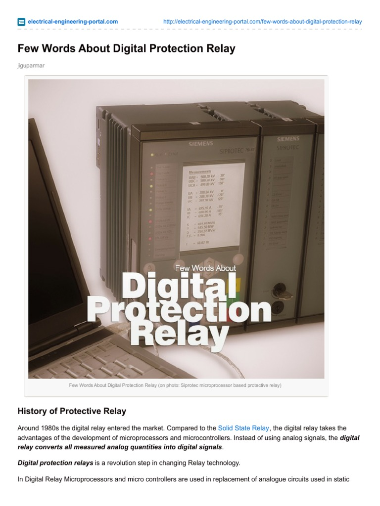 ElectricalEngineeringportalcomFew Words About Digital Protection
