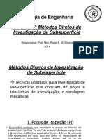 GEOLOGIA INVESTIGAÇÃO DE SUBSOLO