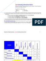 evaluating alternatives rubric example