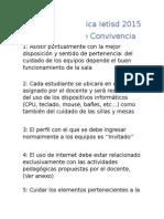 Sala de Informática Ietisd 2015 Pacto de Convivencia