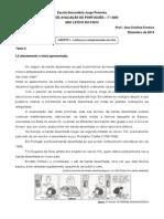 Ficha de Avaliação Português 7.º Ano