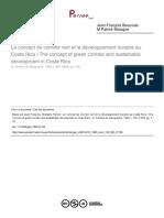 Le Concept de Corridor Vert Et Le Développement Durable Au Costa Rica
