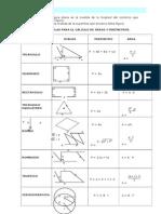 Perímetros, Áreas y Volúmen - Repaso de Matemáticas 2do