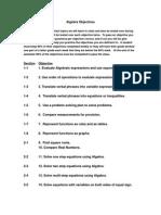 algebra objectives