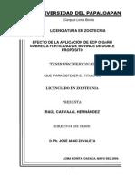 Tesis Efecto de La Aplicacion de ECP o GnRH Sobre La Fertilidad de Bovinos de Doble Proposito
